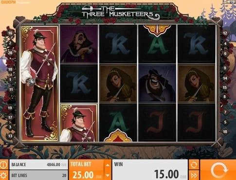 Выигрышная комбинация в автомате The Three Musketeers