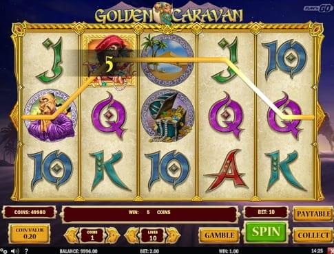 Выигрышная комбинация символов в игре Golden Caravan