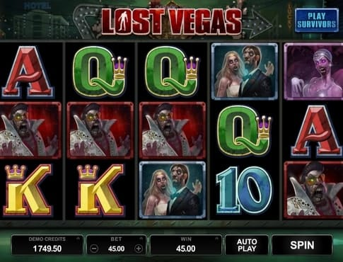 Комбинация символов на линии в игре Lost Vegas