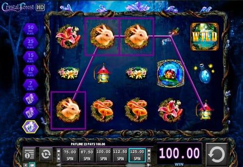 Комбинация символов в игровом автомате Crystal Forest
