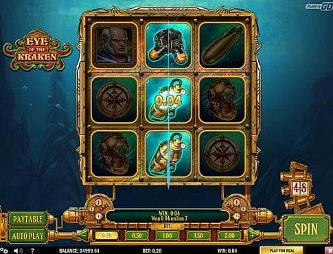 Призовая комбинация символов в игровом автомате Eye of the Kraken