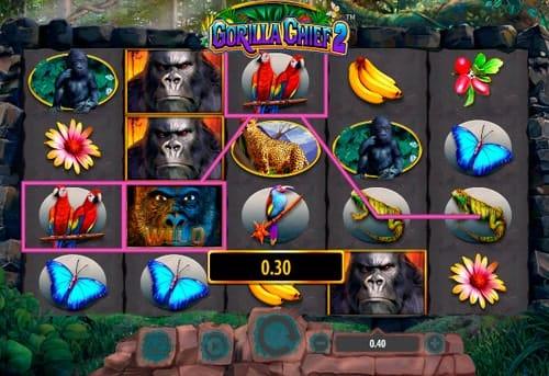 Призовая комбинация символов в игровом автомате Gorilla Chief 2