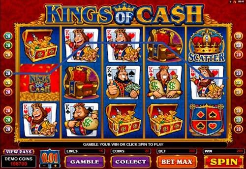Комбинация символов в игровом автомате Kings of Cash
