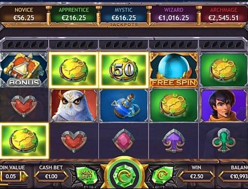 Призовая комбинация символов в игровом автомате Ozwins Jackpots