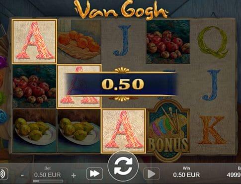 Призовая комбинаци с диким знаком в игровом автомате Van Gogh