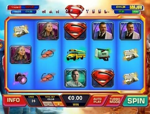 Игровые символы онлайн аппарата Man of Steel