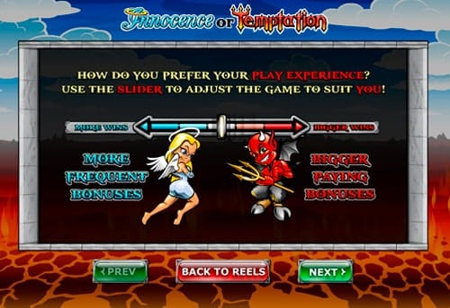 Игровые настройки в онлайн аппарате Innocence or Temptation