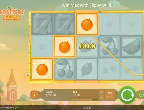 Выигрышная комбинация в онлайн автомате Fruitful Siesta