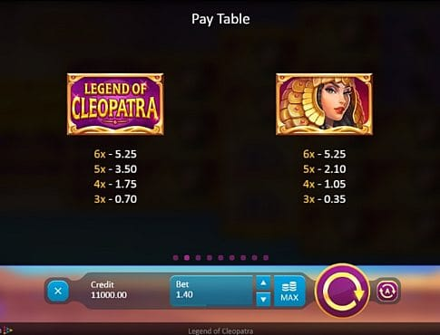 Таблица выплат в слоте Legend of Cleopatra
